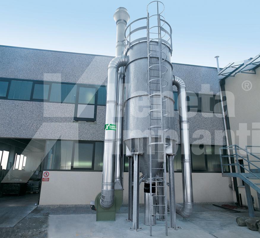 Instalacion de aspiracion con filtro de mangas con limpieza por aire comprimido modelo fmpj-t en depresión