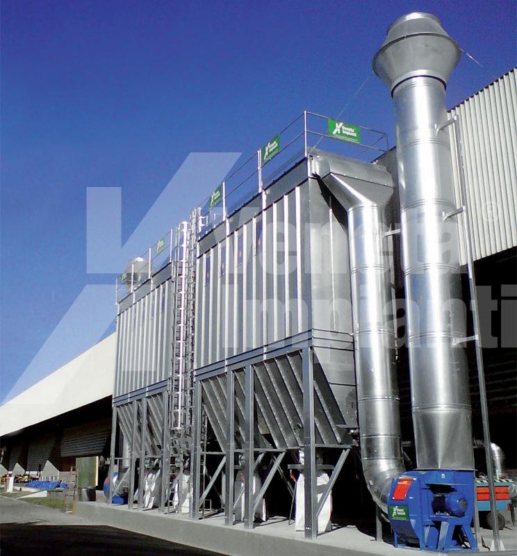Impianto aspirazione e filtrazione polveri carbonio