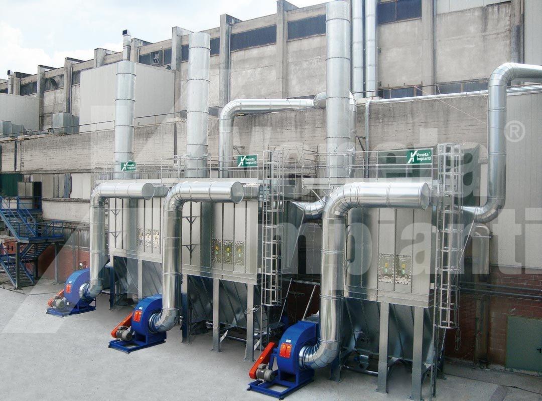 Impianto aspirazione e filtrazione polveri carta