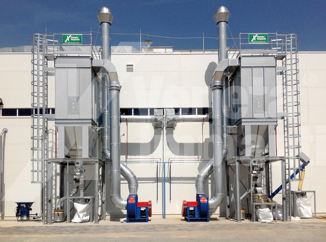 Impianto aspirazione e filtrazione linea riciclaggio pneumatici