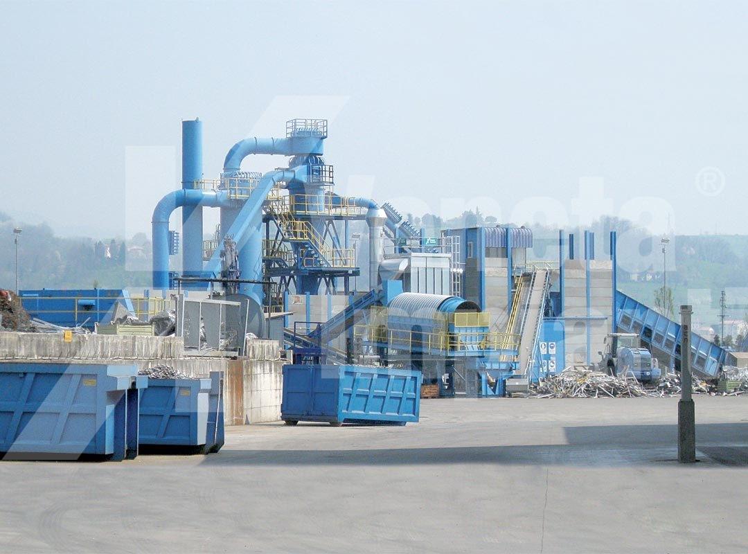Impianto aspirazione su linea riciclaggio materiali ferrosi